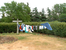 Clothesline on the prairie. The old-fashioned way to dry clothes, they smell so fresh Stock Photos