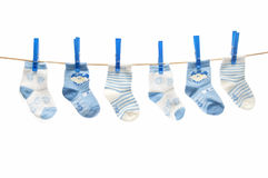 Clothesline with socks Stock Image