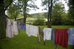 Clothesline su una vecchia azienda agricola Fotografia Stock Libera da Diritti