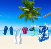 Clothesline on Tropical Beach with Snoggle Stock Image
