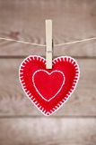 Clothesline with Valentine's Day heart decoration Royalty Free Stock Image