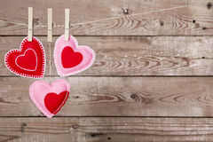 Clothesline with Valentine's Day hearts decorations Royalty Free Stock Photography