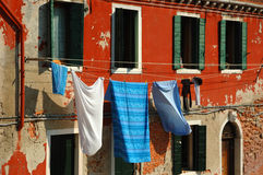 Clotheslines above a canal - Old Venice Royalty Free Stock Photography
