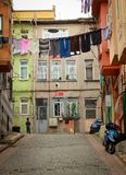 Clotheslines in the street of Istanbul, Turkey Stock Images