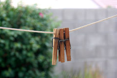 Clothespin. Three clothespins hanging on a laundry line Stock Images