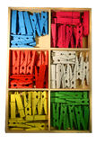 Clothespin. White isolated colored wood clothespin Royalty Free Stock Image