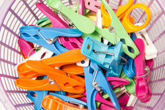 Clothespin in basket Royalty Free Stock Photo
