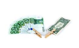 Clothespin and bonds. Euro dollar stock image