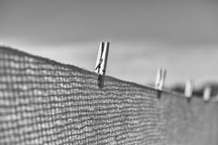 Clothespin clipped to blanket Royalty Free Stock Photo