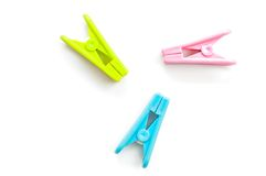 Clothespin clips Stock Images
