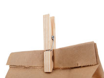 Clothespin closing a paper lunch bag macro Royalty Free Stock Photos