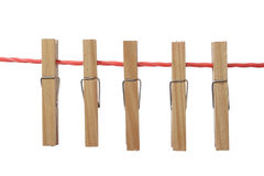 Clothespin in Clothesline Royalty Free Stock Images