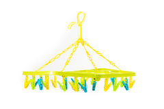 Clothespin on clothesline isolate. On over white background Royalty Free Stock Photos