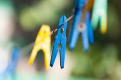 Clothespin on a clothesline. A photo Royalty Free Stock Photo