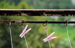 Clothespin on clothesline, vintage style. Clothespin on clothesline, nature background, vintage stule, old Stock Photos