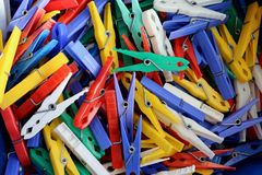 Clothespin colorful close up multi color stock image