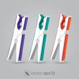 Clothespin dla clothesline vectore Fotografia Stock