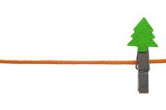 Clothespin do Natal na linha Fotos de Stock