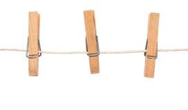 Clothespin en cuerda para tender la ropa Imágenes de archivo libres de regalías