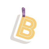 Clothespin holding relive letter b in shade. Vector illustration Royalty Free Stock Photos
