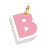 Clothespin holding relive letter B. Vector illustration Stock Photography