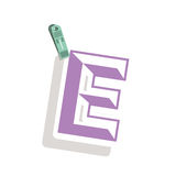 Clothespin holding relive letter e in shade. Vector illustration Royalty Free Stock Photography