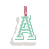Clothespin holding relive letter a in shade. Vector illustration Royalty Free Stock Photography