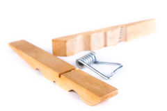 Clothespin in pieces Stock Photos