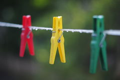 Clothespin after a rain Stock Photo
