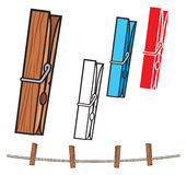 Clothespin. And rope, clothes pegs royalty free illustration