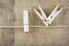Clothespin on rope isolate Stock Photos