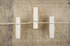 Clothespin on rope isolate Royalty Free Stock Photography
