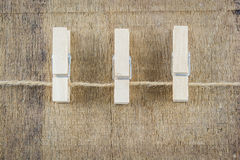 Clothespin on rope isolate Stock Image