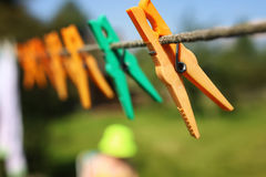 Clothespin on the rope outdoor royalty free stock photo
