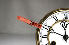 Clothespin stop the clock. Royalty Free Stock Photography