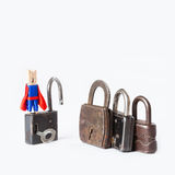 Clothespin superhero housebreaker with opened Royalty Free Stock Image