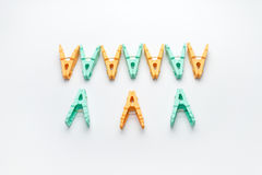 The clothespin on white background. Clothespin sort Royalty Free Stock Image