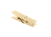 Clothespin wood isolated on a white Stock Photos