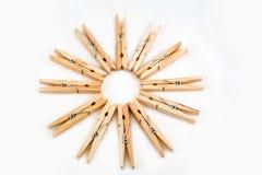 Clothespins ξύλινο Στοκ Φωτογραφία