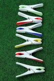 Clothespins в линии Стоковое Изображение