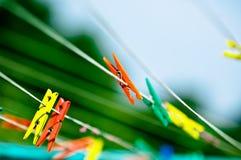 clothespins крупного плана Стоковые Изображения