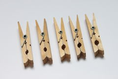 Clothespins. Five clothespins in a row. Photo taken on: September 10th, 2009 royalty free stock images