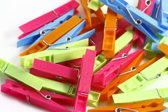 Clothespins. On the white background Royalty Free Stock Photography