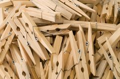 Clothespins. Close-up of clothespins, top view Royalty Free Stock Photo