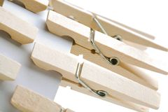 Clothespins attached with card Royalty Free Stock Photos