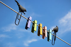 Clothespins on a background of blue sky with birds Royalty Free Stock Image