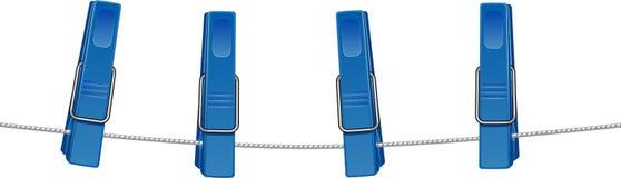 Clothespins blu su una stringa illustrazione vettoriale