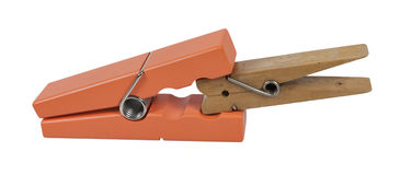 Clothespins Clamping Smaller Clothespin Royalty Free Stock Photos