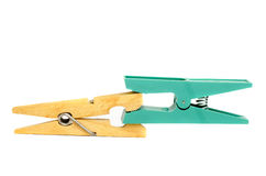 Clothespins cliping each other Stock Image