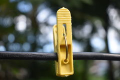 Clothespins. On a  clothes line Royalty Free Stock Images